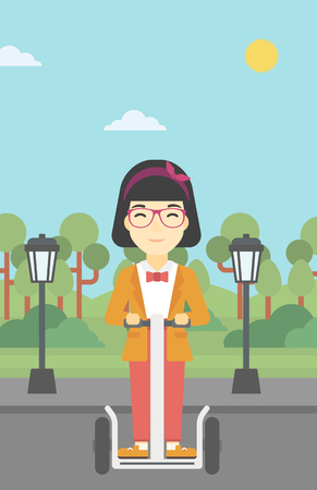 An asian young woman driving electric scooter. Woman on self-balancing electric scooter with two wheels. Woman on electric scooter in the park. Vector flat design illustration. Vertical layout. Illustration