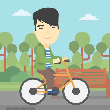 lifestyle outdoors: An asian young man riding a bicycle in the park. Cyclist riding bike on forest road. Man on a bike outdoors. Healthy lifestyle concept. Vector flat design illustration. Square layout.