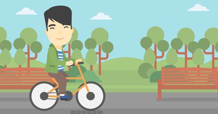 lifestyle outdoors: An asian young man riding a bicycle in the park. Cyclist riding bike on forest road. Man on a bike outdoors. Healthy lifestyle concept. Vector flat design illustration. Horizontal layout