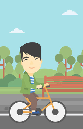 road cycling: An asian young man riding a bicycle in the park. Cyclist riding bike on forest road. Man on a bike outdoors. Healthy lifestyle concept. Vector flat design illustration. Vertical layout.