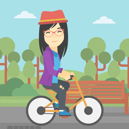 lifestyle outdoors: An asian young woman riding a bicycle in park. Cyclist riding bike on forest road. Woman on bike outdoors. Healthy lifestyle concept. Vector flat design illustration. Square layout.
