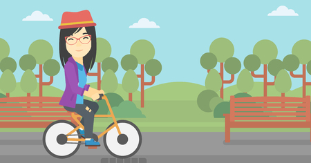 lifestyle outdoors: An asian young woman riding a bicycle in park. Cyclist riding bike on forest road. Woman on bike outdoors. Healthy lifestyle concept. Vector flat design illustration. Horizontal layout