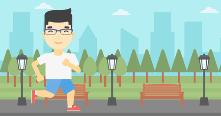 road runner: An asian young man running. Male runner jogging outdoors. Sportsman running in the park. Running man on forest road. Vector flat design illustration. Horizontal layout