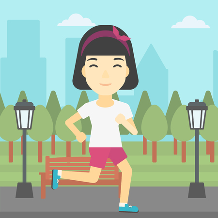 sportive: An asian young woman running. Female sportive runner jogging outdoors. Sports woman running in the park. Running woman on forest road. Vector flat design illustration. Square layout. Illustration