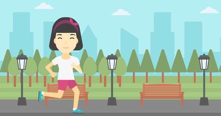road runner: An asian young woman running. Female sportive runner jogging outdoors. Sports woman running in the park. Running woman on forest road. Vector flat design illustration. Horizontal layout