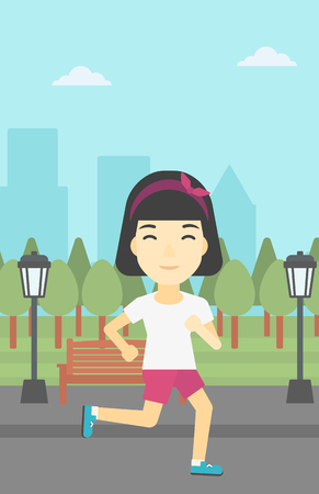 road runner: An asian young woman running. Female sportive runner jogging outdoors. Sports woman running in the park. Running woman on forest road. Vector flat design illustration. Vertical layout.