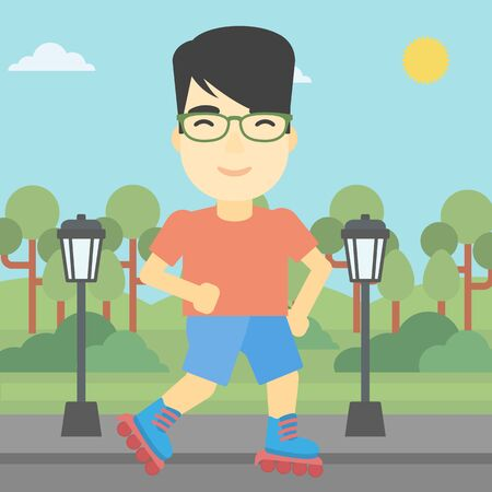 rollerskates: An asian young man on roller-skates in the park. Full length of sportsman in protective sportwear on rollers skating outdoors. Vector flat design illustration. Square layout.