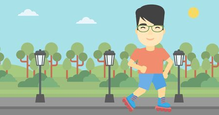 rollerskates: An asian young man on roller-skates in the park. Full length of sportsman in protective sportwear on rollers skating outdoors. Vector flat design illustration. Horizontal layout