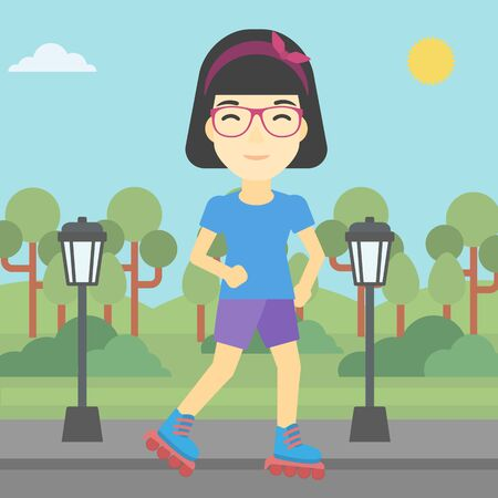 rollerskates: An asian young woman on roller-skates in the park. Full length of sports woman in protective sportwear on rollers skating outdoors. Vector flat design illustration. Square layout.