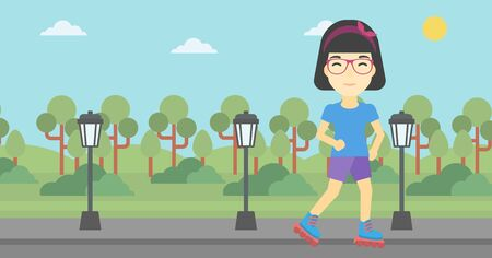 rollerskates: An asian young woman on roller-skates in the park. Full length of sports woman in protective sportwear on rollers skating outdoors. Vector flat design illustration. Horizontal layout