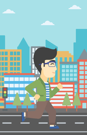 male athlete: An asian young man running. Male runner jogging. Full length of a male athlete running. Sportsman running on a city background. Vector flat design illustration. Vertical layout. Illustration