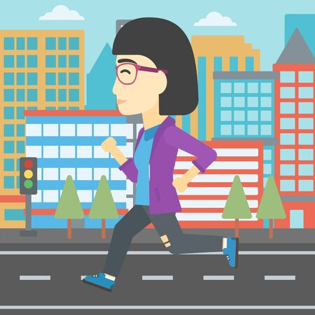 woman running: An asian young woman running. Female runner jogging. Full length of a female athlete running. Sports woman running on a city background. Vector flat design illustration. Square layout. Illustration