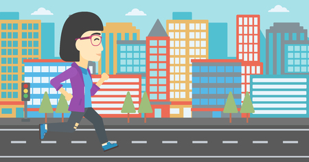 female athlete: An asian young woman running. Female runner jogging. Full length of a female athlete running. Sports woman running on a city background. Vector flat design illustration. Horizontal layout Illustration