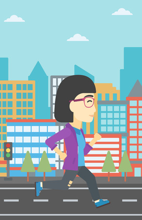 woman running: An asian young woman running. Female runner jogging. Full length of a female athlete running. Sports woman running on a city background. Vector flat design illustration. Vertical layout. Illustration