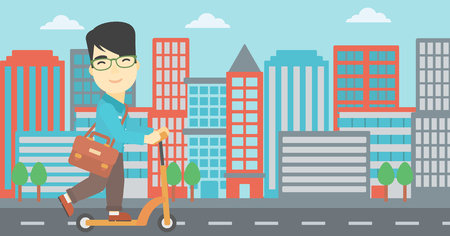 kick out: An asian young man riding a kick scooter. Businessman with briefcase riding to work on scooter. Man on kick scooter in the city street. Vector flat design illustration. Horizontal layout
