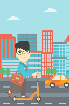 An asian young man riding a kick scooter. Businessman with briefcase riding to work on scooter. Man on kick scooter in the city street. Vector flat design illustration. Vertical layout. Illustration