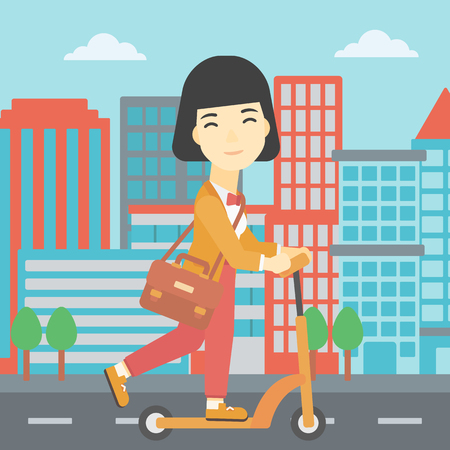 kick out: An asian young woman riding a kick scooter. Business woman with briefcase riding to work on scooter. Woman on kick scooter in the city street. Vector flat design illustration. Square layout.