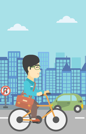asian lifestyle: An asian young man riding a bicycle. Cyclist riding bike on city background. Businessman with briefcase on a bike. Healthy lifestyle concept. Vector flat design illustration. Vertical layout.