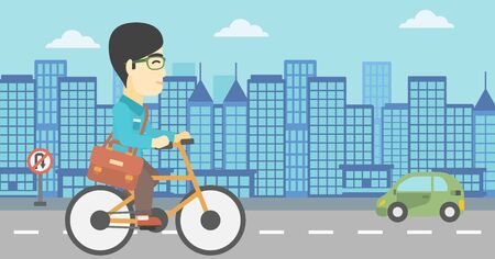 asian lifestyle: An asian young man riding a bicycle. Cyclist riding bike on city background. Businessman with briefcase on a bike. Healthy lifestyle concept. Vector flat design illustration. Horizontal layout Illustration