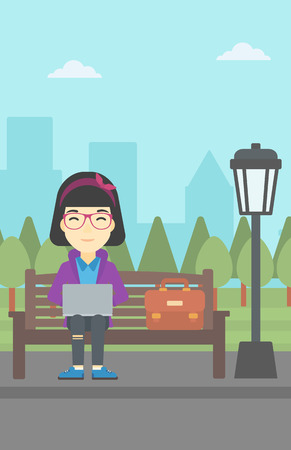 An asian young business woman with briefcase working in the park. Woman working on a laptop. Business woman sitting on a bench with laptop. Vector flat design illustration. Vertical layout. Illustration