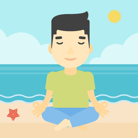 man meditating: An asian young man meditating in yoga lotus pose on the beach. Man relaxing on the beach in the yoga lotus position. Vector flat design illustration. Square layout.