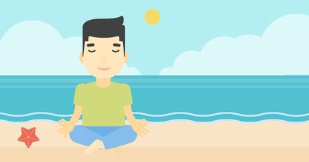 man meditating: An asian young man meditating in yoga lotus pose on the beach. Man relaxing on the beach in the yoga lotus position. Vector flat design illustration. Horizontal layout Illustration