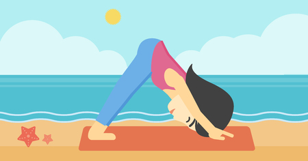facing: An asian young woman standing in yoga downward facing dog pose on the beach. Woman doing yoga on nature. Vector flat design illustration. Horizontal layout Illustration