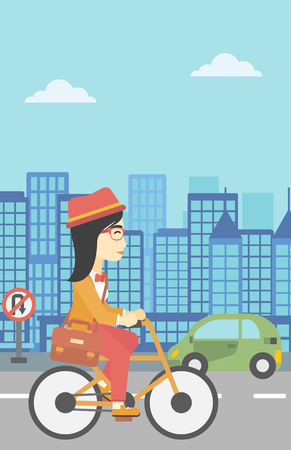 asian lifestyle: An asian young woman riding a bicycle. Cyclist riding bike on city background. Business woman with briefcase on a bike. Healthy lifestyle concept. Vector flat design illustration. Vertical layout.