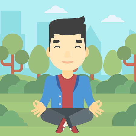 lotus position: An asian young businessman meditating in yoga lotus position. Businessman relaxing in the park in the lotus position. Vector flat design illustration. Square layout.