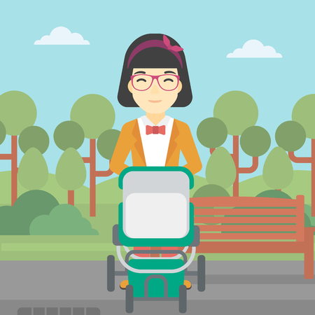 baby and mother: An asian young mother walking with baby stroller in the park. Mother walking with her baby in stroller. Mother pushing baby stroller. Vector flat design illustration. Square layout.