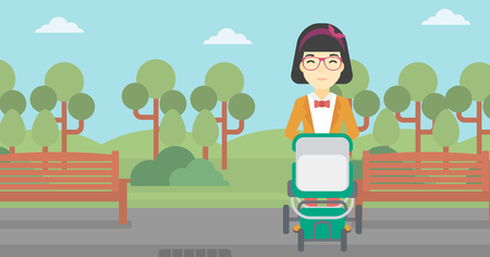 baby and mother: An asian young mother walking with baby stroller in the park. Mother walking with her baby in stroller. Mother pushing baby stroller. Vector flat design illustration. Horizontal layout.
