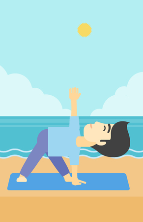 An asian young man standing in yoga triangle pose. Man meditating in yoga triangle position on the beach. Man doing yoga on nature. Vector flat design illustration. Vertical layout. Illustration