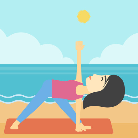woman meditating: An asian young woman standing in yoga triangle position. Woman meditating in yoga triangle position on the beach. Woman doing yoga on nature. Vector flat design illustration. Square layout.