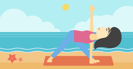 woman meditating: An asian young woman standing in yoga triangle position. Woman meditating in yoga triangle position on the beach. Woman doing yoga on nature. Vector flat design illustration. Horizontal layout Vectores