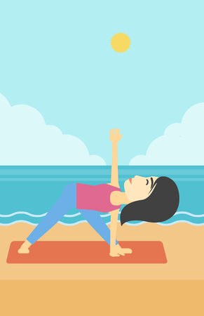 mujer meditando: An asian young woman standing in yoga triangle position. Woman meditating in yoga triangle position on the beach. Woman doing yoga on nature. Vector flat design illustration. Vertical layout.