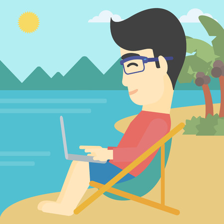 chaise lounge: An asian young businessman working on the beach. Businessman sitting in chaise lounge and working on a laptop. Vector flat design illustration. Square layout. Illustration