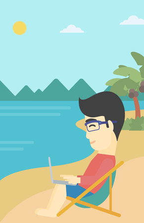 An asian young businessman working on the beach. Businessman sitting in chaise lounge and working on a laptop. Vector flat design illustration. Vertical layout.
