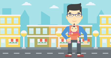 An asian father carrying daughter in sling. Father with baby in sling walking in the city street. Young father carrying newborn in sling. Vector flat design illustration. Horizontal layout. Illustration