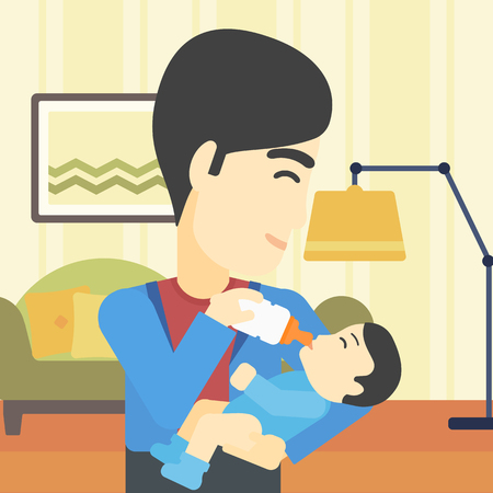 nursing bottle: An asian father feeding baby with a milk bottle. Father feeding newborn baby at home. Baby boy drinking milk from bottle. Vector flat design illustration. Square layout.
