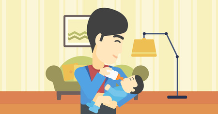 nursing bottle: An asian father feeding baby with a milk bottle. Father feeding newborn baby at home. Baby boy drinking milk from bottle. Vector flat design illustration. Horizontal layout. Illustration