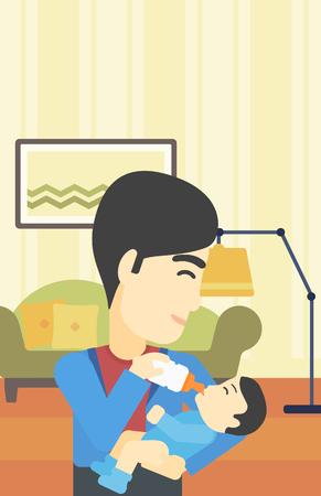 nursing bottle: An asian father feeding baby with a milk bottle. Father feeding newborn baby at home. Baby boy drinking milk from bottle. Vector flat design illustration. Vertical layout.