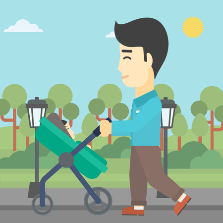 baby stroller: An asian young father walking with baby stroller in the park. Father walking with his baby in stroller. Father pushing baby stroller. Vector flat design illustration. Square layout.