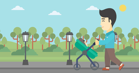 baby stroller: An asian young father walking with baby stroller in the park. Father walking with his baby in stroller. Father pushing baby stroller. Vector flat design illustration. Horizontal layout. Illustration