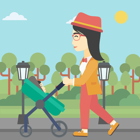 An asian young mother walking with baby stroller in the park. Mother walking with her baby in stroller. Mother pushing baby stroller. Vector flat design illustration. Square layout.