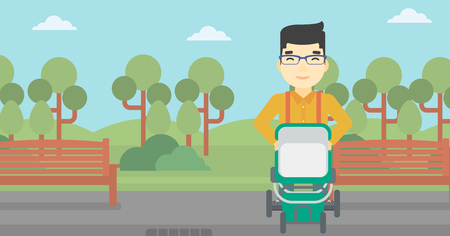 An asian young father walking with baby stroller in the park. Father walking with his baby in stroller. Father pushing baby stroller. Vector flat design illustration. Horizontal layout. Illustration