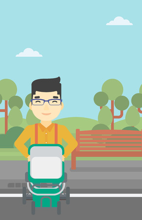 baby stroller: An asian young father walking with baby stroller in the park. Father walking with his baby in stroller. Father pushing baby stroller. Vector flat design illustration. Vertical layout.