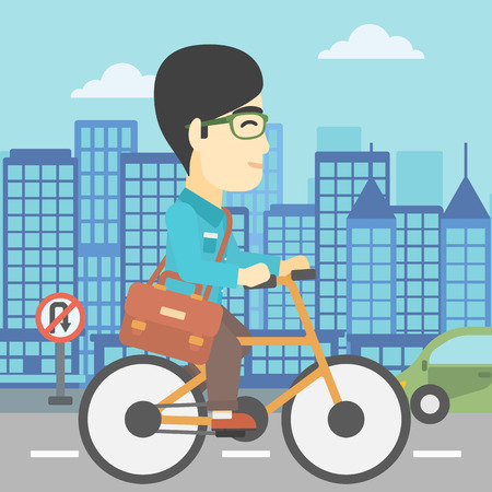 asian lifestyle: An asian young man riding a bicycle. Cyclist riding bike on city background. Businessman with briefcase on a bike. Healthy lifestyle concept. Vector flat design illustration. Square layout.
