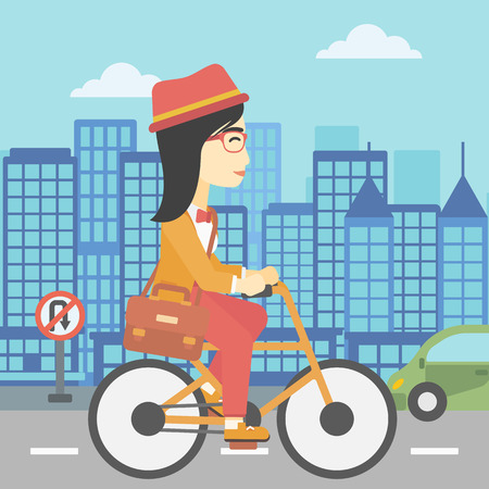 asian lifestyle: An asian young woman riding a bicycle. Cyclist riding bike on city background. Business woman with briefcase on a bike. Healthy lifestyle concept. Vector flat design illustration. Square layout.