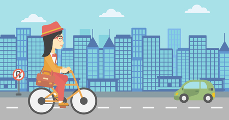 asian lifestyle: An asian young woman riding a bicycle. Cyclist riding bike on city background. Business woman with briefcase on a bike. Healthy lifestyle concept. Vector flat design illustration. Horizontal layout