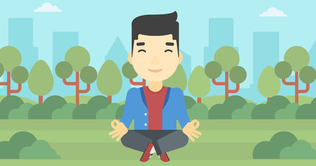 lotos: An asian young businessman meditating in yoga lotus position. Businessman relaxing in the park in the lotus position. Vector flat design illustration. Horizontal layout